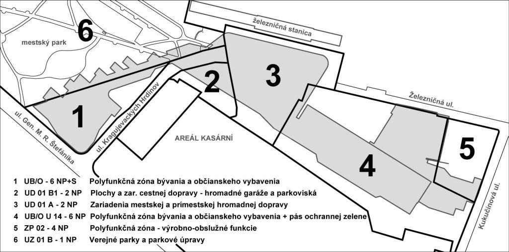 Popis funkčných zón podľa platného ÚPN s hlavným využitím